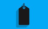 Vector black price tag with long shadow on flat background