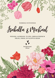 Fototapety Wedding invitation with flowers.