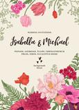 Fototapety Wedding invitation with flowers.