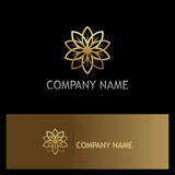 gold flower beauty luxury geometry logo