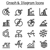 Graph , Data , Diagram icon set in thin line style