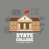 state college emblem education vector illustration design