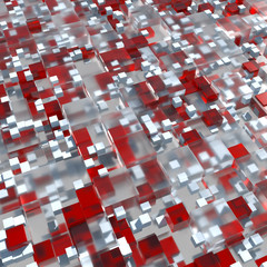 Abstract geometry background. 3D rendered cubes with different size. 3D glass cubes with shadows, reflection, refraction and bright elements.