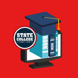 state college emblem education vector illustration design