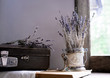 still life. vintage. old suitcase and sprigs of lavender on the background of old windows to the garden. lilac shades