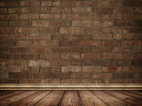 Bricks wall and wooden floor background.