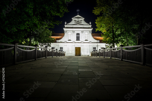 Saint John of Nepomuk Catholic Church in Zwierzyniec, Poland at night