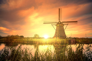 Beautiful sunset over Kinderdijk windmill, Unesco world heritage monument, Alblasserdam, Netherlands