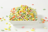 Colored puffed rice