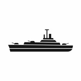 Warship icon in simple style isolated on white background. Military transport symbol