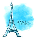 World famous landmark series: Eiffel Tower, Paris, France.