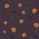 seamless pattern with hat, bat, cauldron and pumpkin