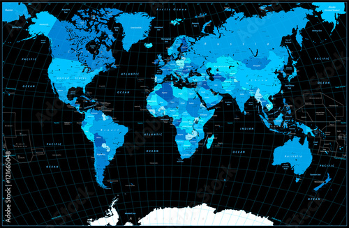 Plagát, Obraz World Map in colors of blue isolated on black