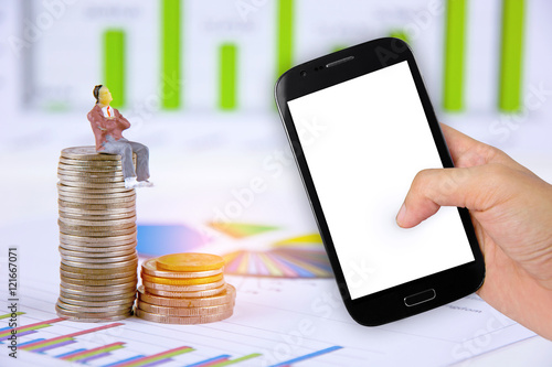 Hand holdind smartphone with businessman is taking profit from trading babkground Poster