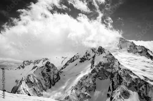 Black and white view on ski resort in snow winter - 121696854