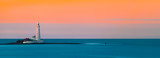 Panoramic image of lighthouse at sunset