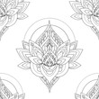 Seamless vector vintage pattern with abstract lotus illustrations - 121714298