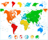 World map with colorful continents and 3D globes.