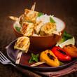 Постер, плакат: Chicken Kebab or Kabob Skewers with Rice Selective focus