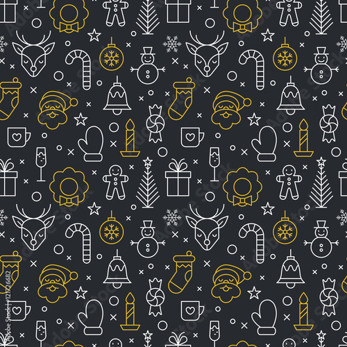 fototapeta na ścianę Christmas thin line icons seamless pattern design