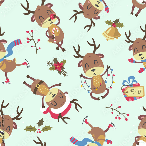 Cotton fabric christmas deer seamless pattern