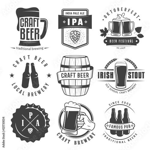 Fototapeta Vector craft beer badges and logos. Set of retro beer labels