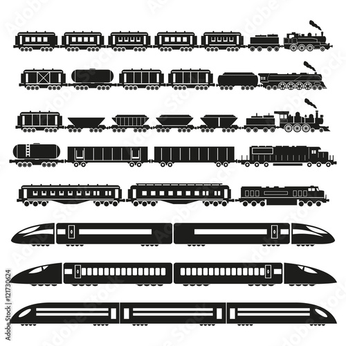 Trains set. Vector illustration.