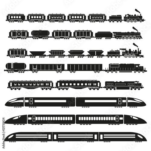 Tapeta Trains set. Vector illustration.
