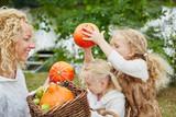 Kinder helfen bei der Ernte von Kürbis