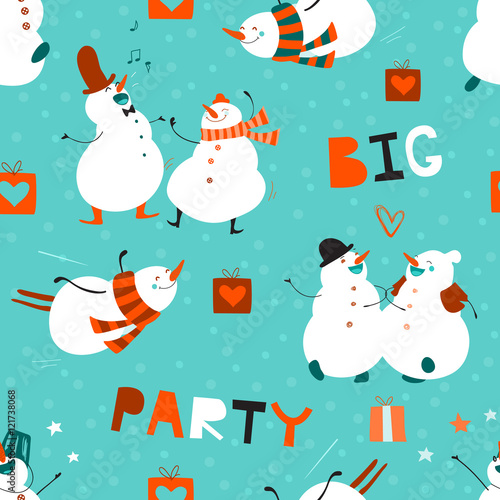 Materiał do szycia Seamless pattern Big Party. Set of funny dancing snowmen. No effect. Creative hand drawn design with cute cartoon characters. Festive winter background suitable for fabrics, wallpaper, packaging, web