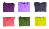 Six t-shirts of different colors
