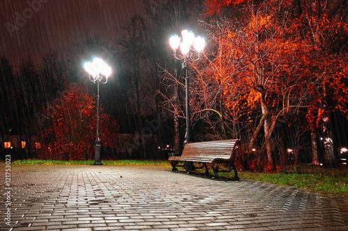 Papiers peints Automne Autumn night landscape of night autumn park under falling rain