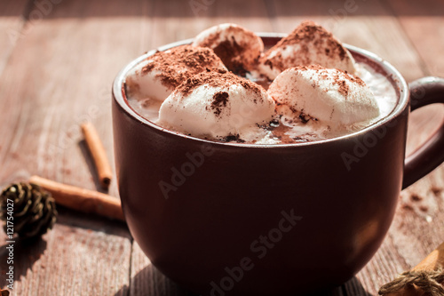 Foto op Canvas Chocolade Christmas drink. Hot chocolate in a mug, marshmallows, cinnamon sticks and fir cones, close-up