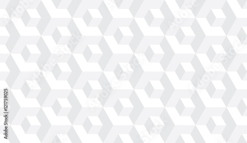 Fototapeta Seamless subtle gray op art isometric cubes illusion pattern vector