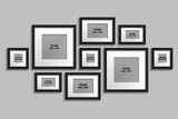 Vector collection of isolated black frames with white passepartout
