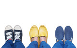 Selfie feet wearing variety shoes isolated