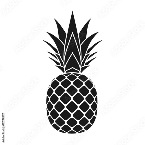 Pineapple with leaf icon. Tropical fruit isolated on white background. Symbol of food, sweet, exotic and summer, vitamin, healthy. Nature logo dessert. Flat concept. Design element Vector illustration - 121778237