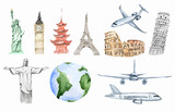 Fototapety Watercolor world travel set. All sightseeing from all over the world as big ben, liberty statue, Colosseum and more. Airplanes.