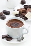 hot chocolate on a white table, closeup