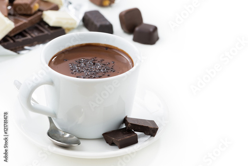 hot chocolate on a white background, closeup, isolated