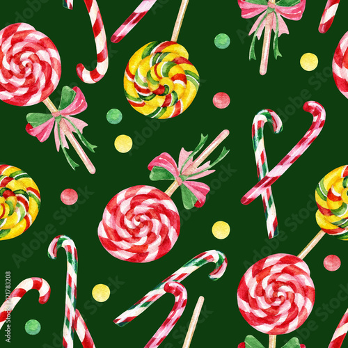 Materiał do szycia Lollipop candy cane seamless pattern