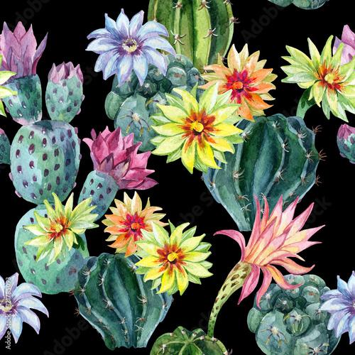 Watercolor seamless cactus pattern - 121785093