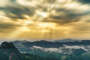 Morning mist and moutain at Chiang mai Thailand