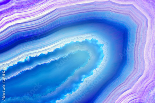 Fototapeta Abstract background - blue agate slice mineral