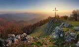 Fototapety Autumn mountain panorama in Small Karpaty with cross