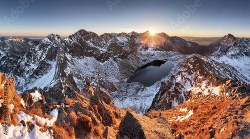 Winter mountain panorama landscape at sunset, Slovakia - High Ta