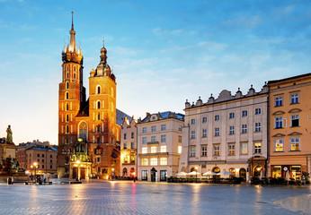 Poland city, Krakow at sunsrie