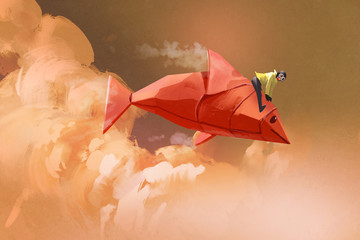 girl riding on the origami paper red fish in the clouds,illustration painting © grandfailure