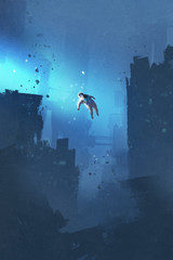 astronaut floating in abandoned city,mysterious space,illustration painting