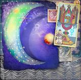 Falce di luna delle fiabe  con stelle,francobolli vintage  e tarocchi - 121796082